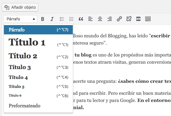 Etiquetas H1, H2 en wordpress